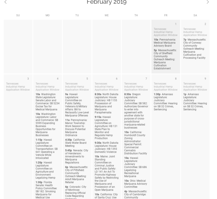 Cannabis Regulatory Meeting Tracker 02/25/2019: 22 Meetings Today in