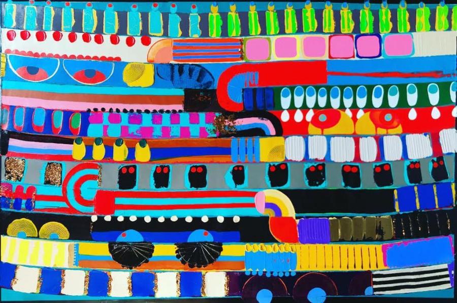 """The Onlookers"" by Jasminefire  acrylic on canvas  Atlanta / Los Angeles 2018"