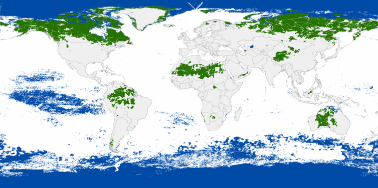 The last of the wild. Remaining marine wilderness is shown in blue; terrestrial wilderness in green.
