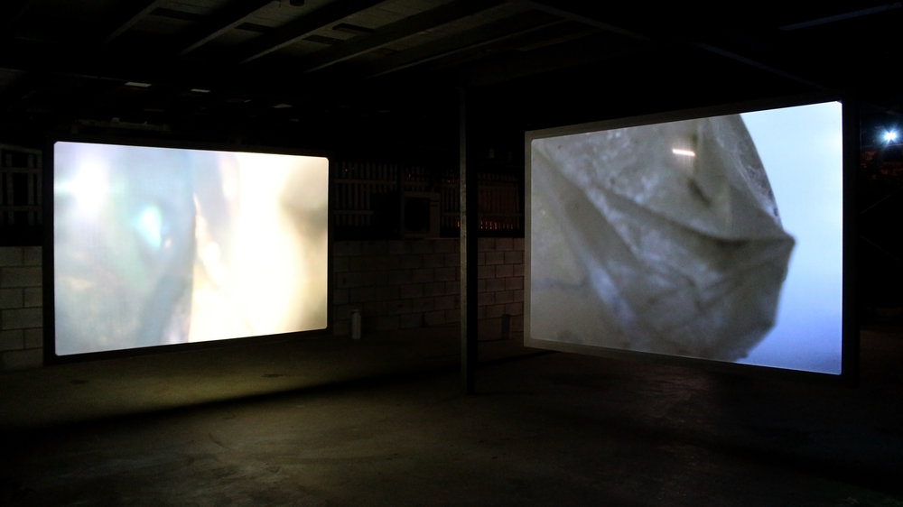 Subway Bag  2018, two channel HD digital video projection, 1:11 minutes (left); 0:32 minutes (right).  Photograph by Naomi O'Reilly.