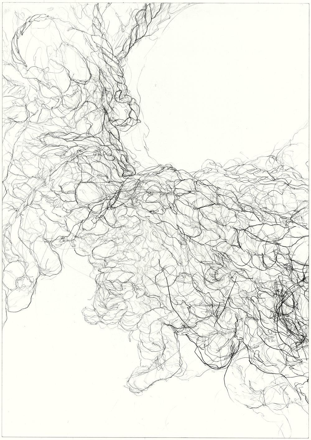 Worn  2011, pencil on paper, 84.1 cm x 59.5 cm.