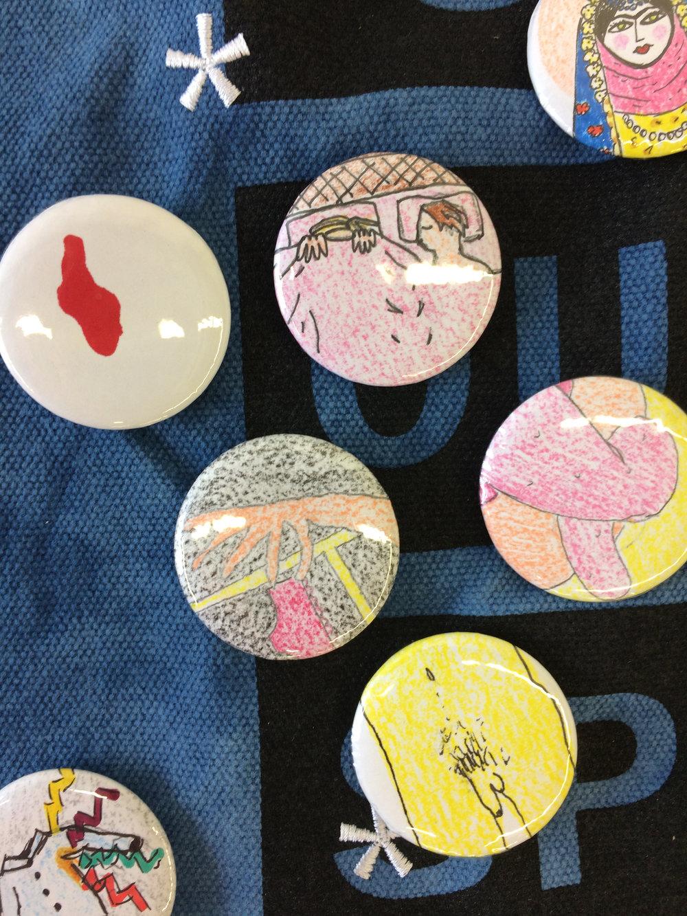 Badges by Tom Aird, Llewellyn Millhouse, Bahar SH and Sarah Thomson.