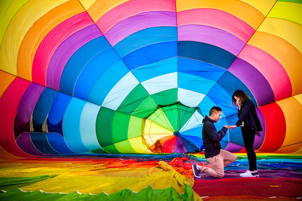 wedding proposal hot air balloon