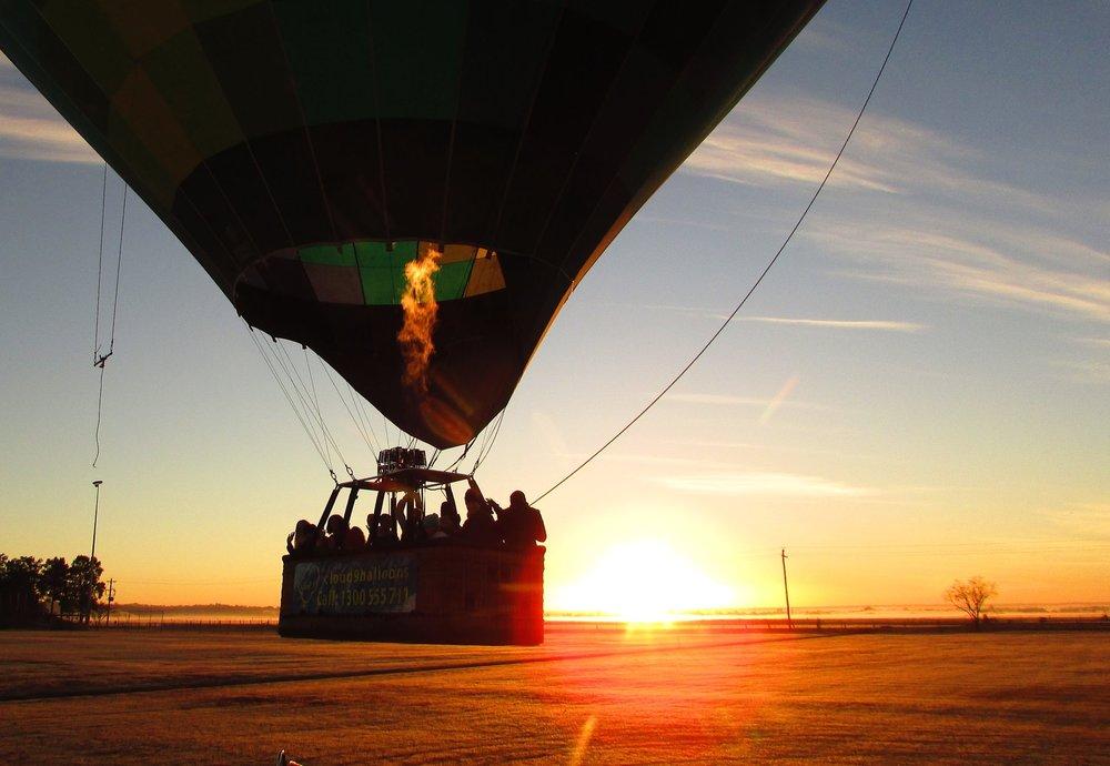 Hot Air Balloon rising with the Sun
