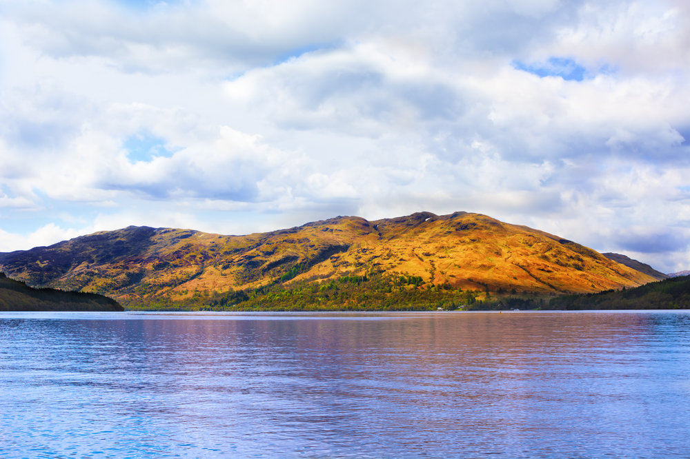 Loch Lomond, Scotland, from West Highland Way under cloudy sky