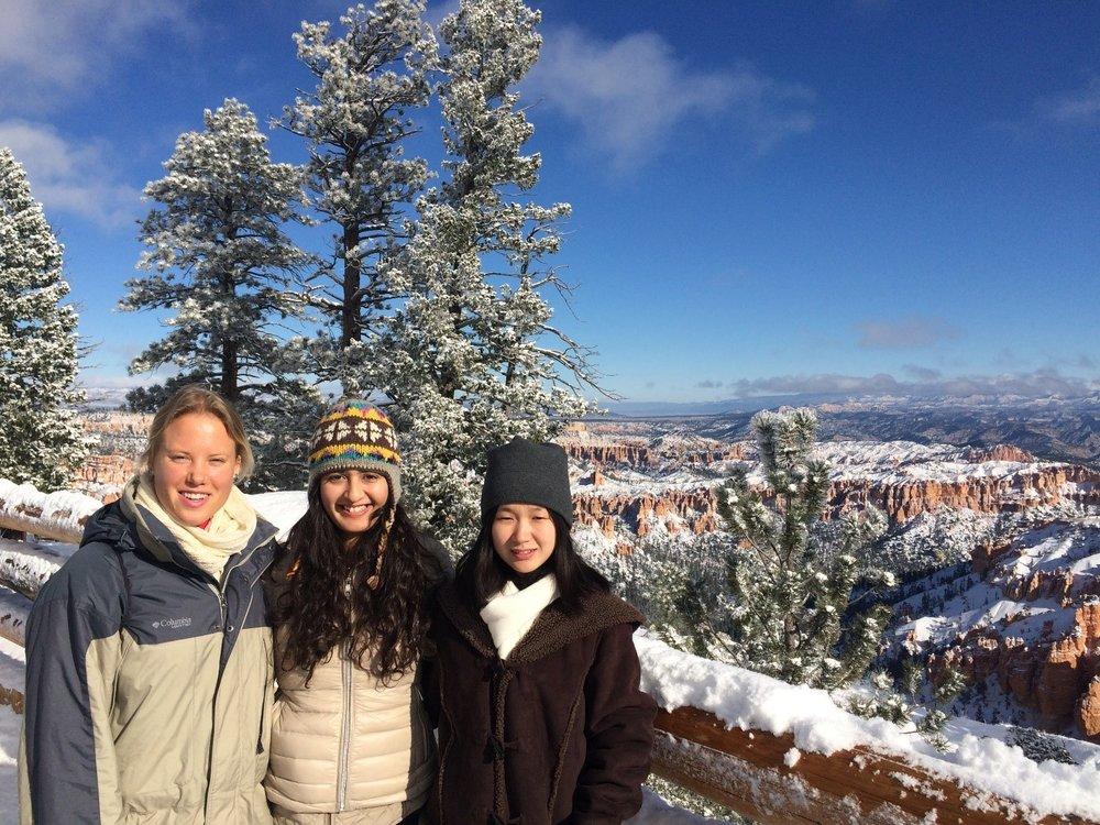 Madiha posing with friends at Bryce Canyon, Utah.