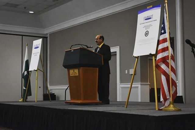 """Being from Pakistan myself, I know how much education is valued and needed there."" – shares Associate Dean, Extension, College of Agriculture, Tennessee State University, Dr. Latif Lighari in his keynote address.  #Fulbright #ReEntrySeminar #Nashville #ExchangesAre @tennstateu"