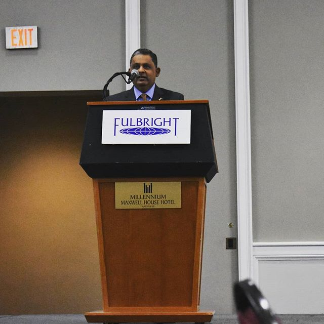 "Pakistan's Deputy Chief of Mission to the United States, Rizwan Saeed Sheikh encourages participants to strengthen the ties between the two countries. ""No matter the turbulence between Pakistan and the United States, educational exchange is our strongest diplomacy."" #Fulbright #usefp #uspak #ReEntrySeminar #Nashville"
