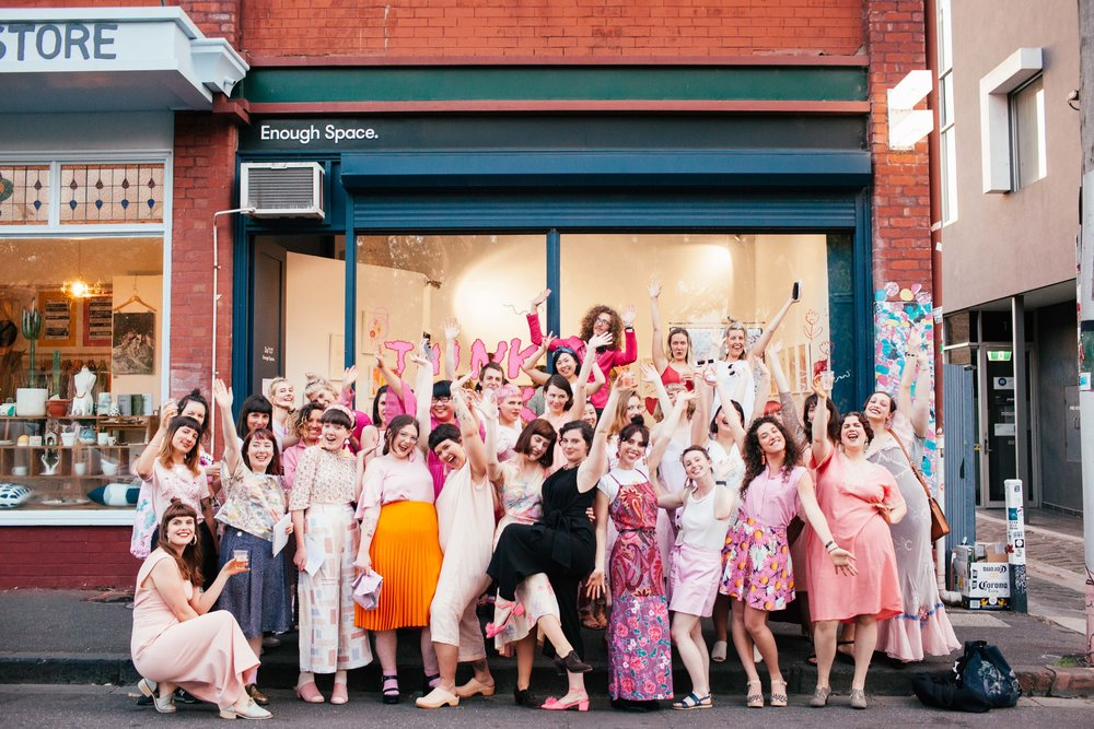 Visitors in pink at the opening of  Think Pink,  2016, ENOUGH Space, Melbourne. Photo: Zoe Harriet.