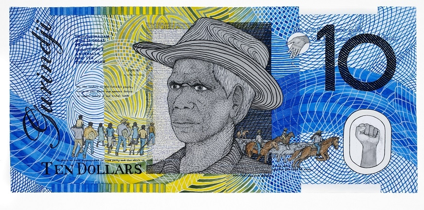 Ryan Presley, ' Blood Money – Ten Dollar Note – Vincent Lingiari Commemorative', 2011, watercolour on archers paper, 75 x 100 cm, Murdoch University Art Collection