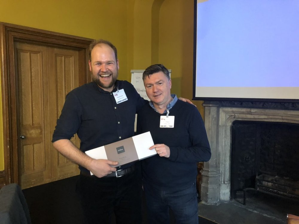 Congratulations to winning pitch, Michael Dicker from Actuation Lab who receives his prize from Brian Prescott, Entrepreneur in Residence for the Advanced Engineering Business Acceleration Hub.