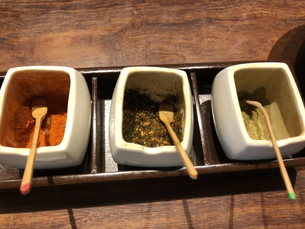From left to right: Ichimi (Chili Powder), Shichimi (7 spice mix), Sansho (a mild pepper with citrus notes).