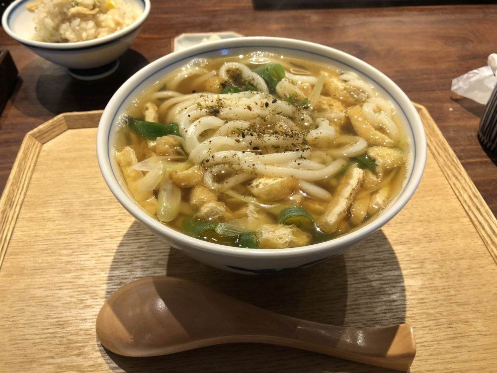 "A ""Kitsune-Udon"" (Fox Udon), is an udon served with fried tofu. The name is derived from the legend that the fox gods like fried tofu."