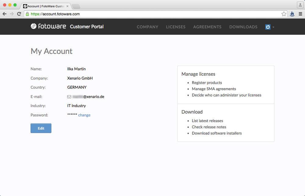 Nach dem Login sehen Sie Ihre persönlichen Account-Daten. Hier können Sie auch Ihr Passwort anpassen.