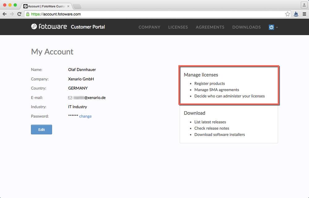 """Durch Klick auf den Bereich """"Manage licenses"""" gelangen Sie zur SMA- bzw.Produkt-Registrierung."""