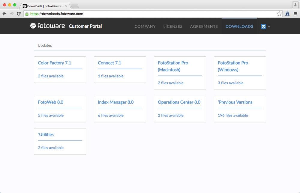 Die Übersicht listet die Downloads nach Applikation sortiert auf. Klicken Sie auf die Applikation, die Sie installieren möchten.