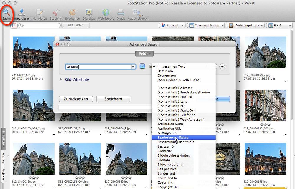 In FotoStation erreichen Sie die erweiterte Suche über das Lupen-Icon in der Toolbar.