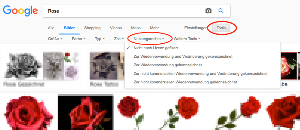 """Ein Klick auf """"Nutzungsrechte"""" öffnet die Auswahl nach CC-Lizenzen (siehe Blog-Beitrag: Creative Commons Lizenzen ). Wählen Sie hier """"zur kommerziellen Wiederverwendung mit Veränderung gekennzeichnet""""."""