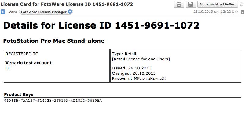 License E-Mail