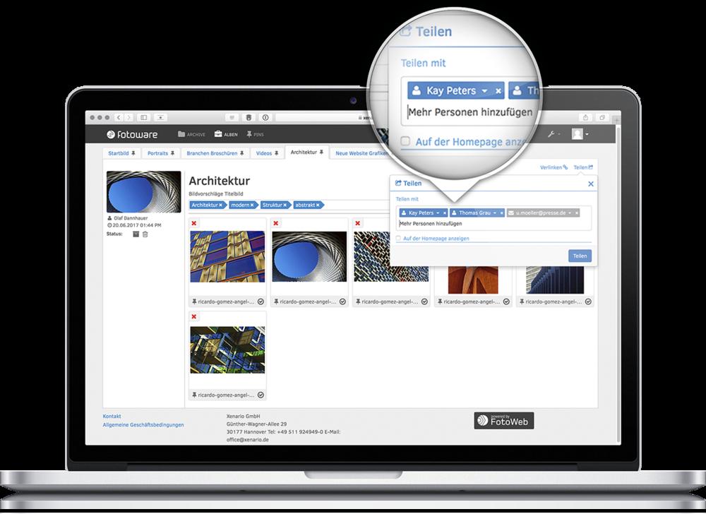 Sharing - Gute Zusammenarbeit lebt vom Teilen. Einfach, aber trotzdem kontrolliert, mit internen und externen Partnern und natürlich auf den Social Media Plattformen. FotoWeb SaaS geht noch einen Schritt weiter und kann die Daten sogar mit anderen Systemen teilen. Besser kann das Teamwork kaum laufen!
