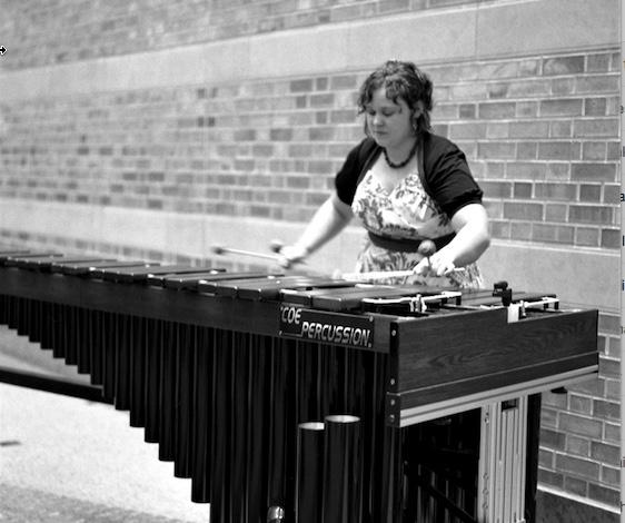 Jane Boxall playing Marimba.