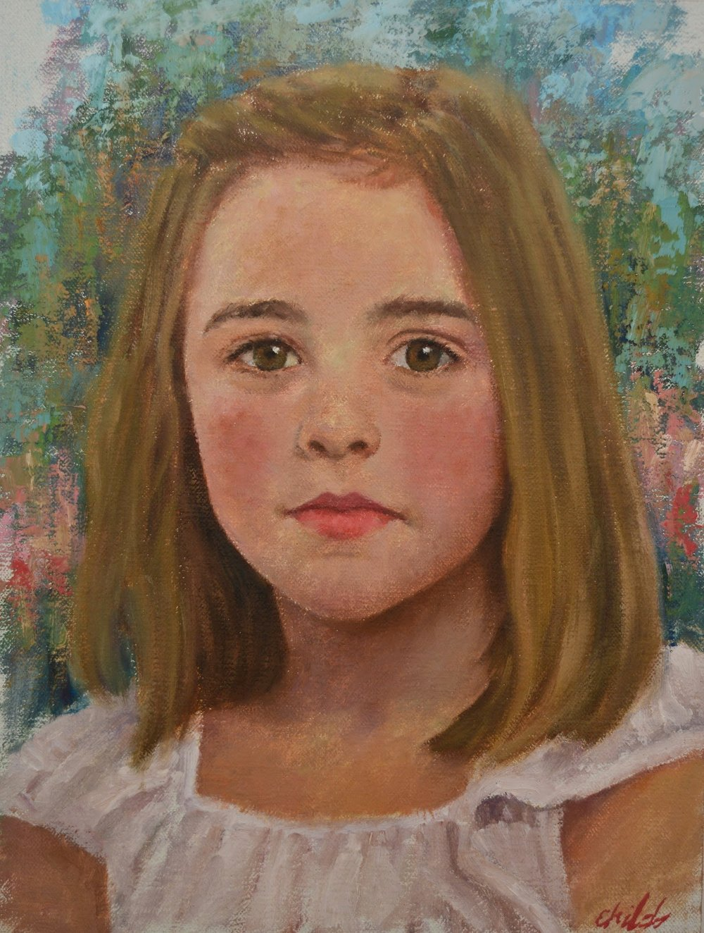 Girl with White Dress - 9x12