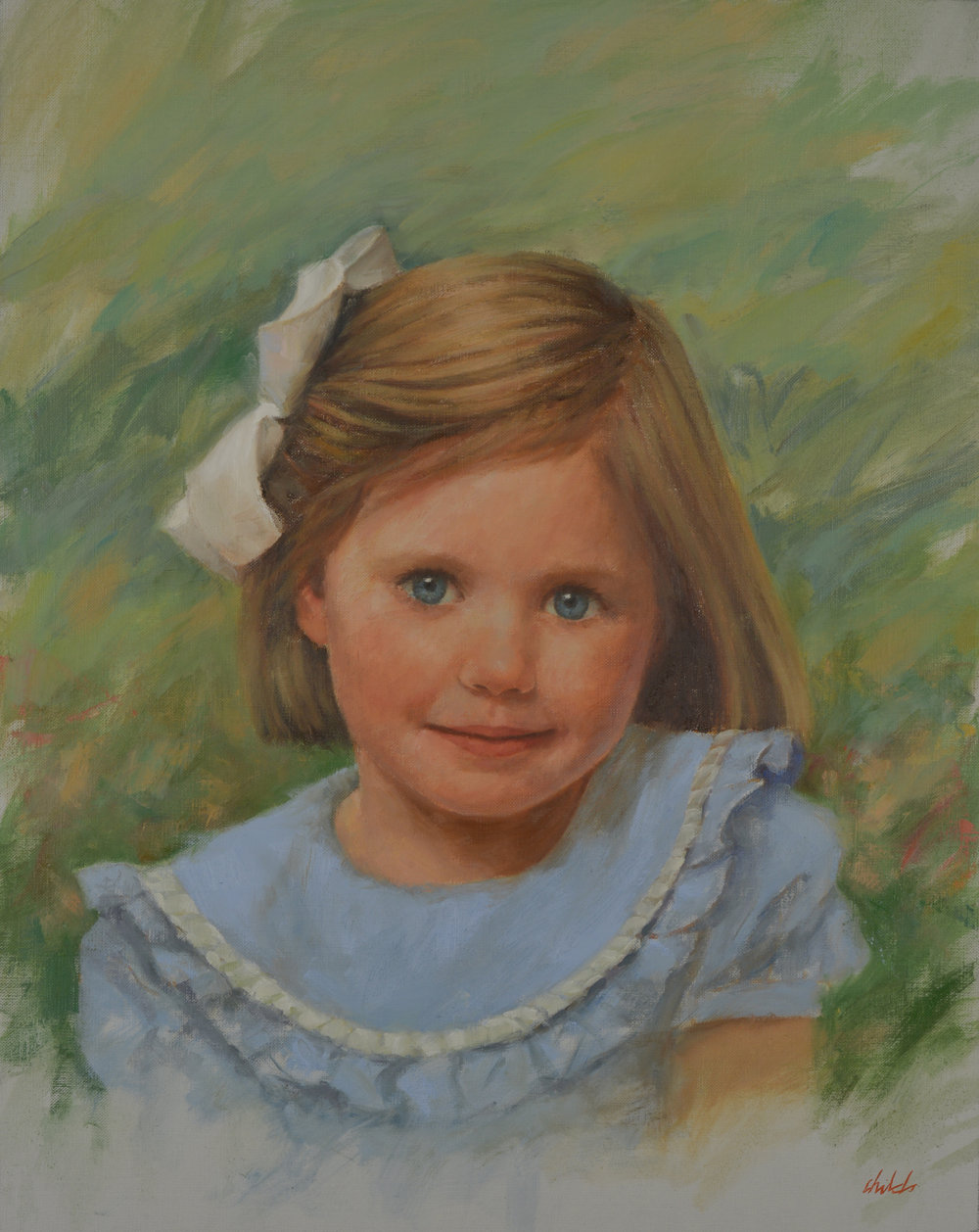 Girl with Blue Dress & White Bow - 20x16