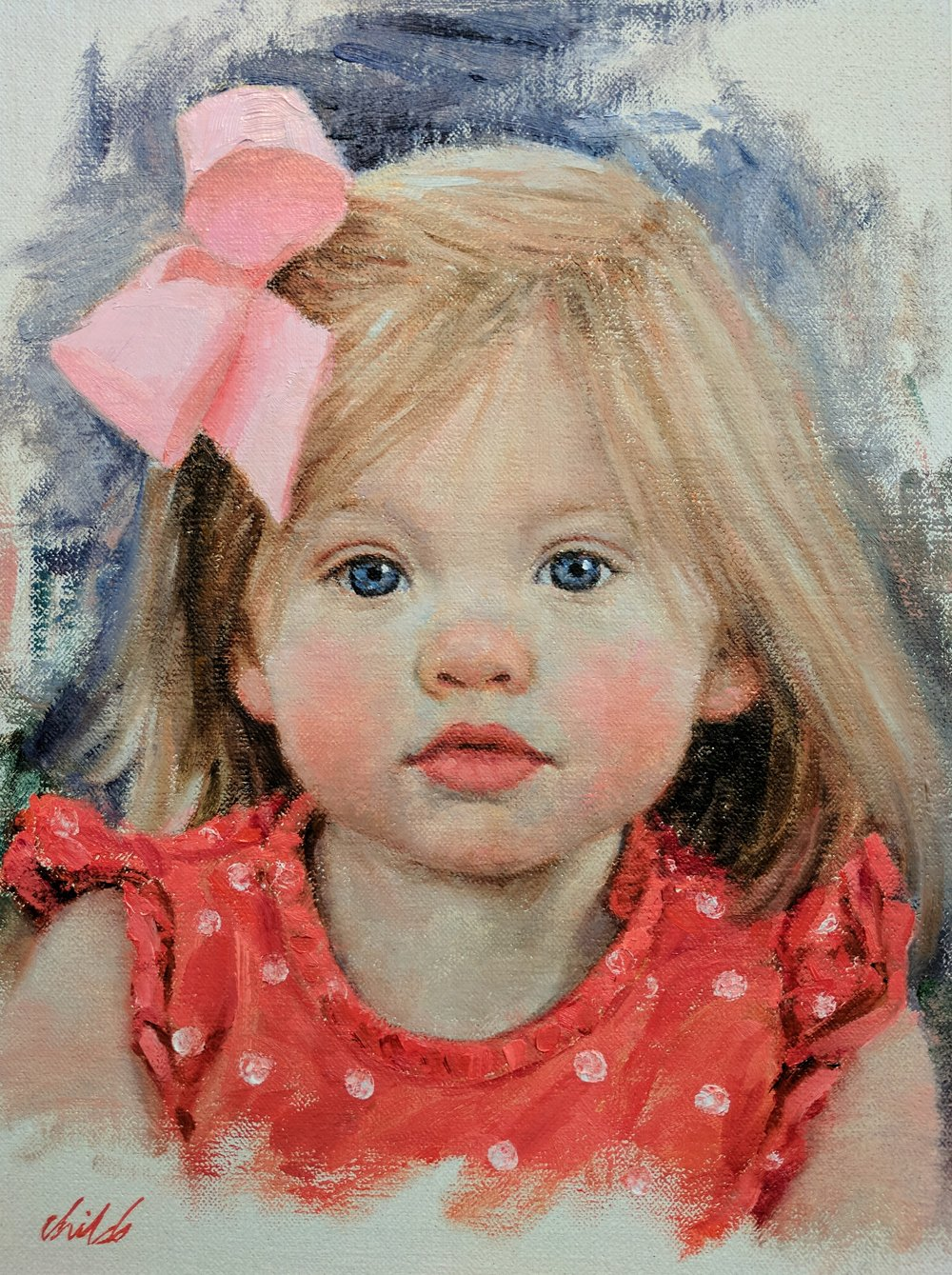 Young Girl with Pink Bow - 9x12
