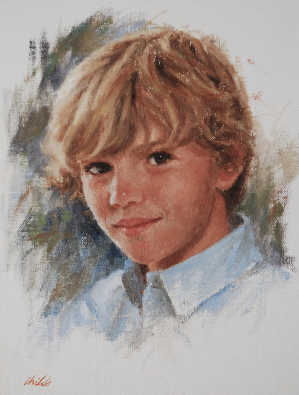 Boy with Blond Hair & Blue Collar - 9x12