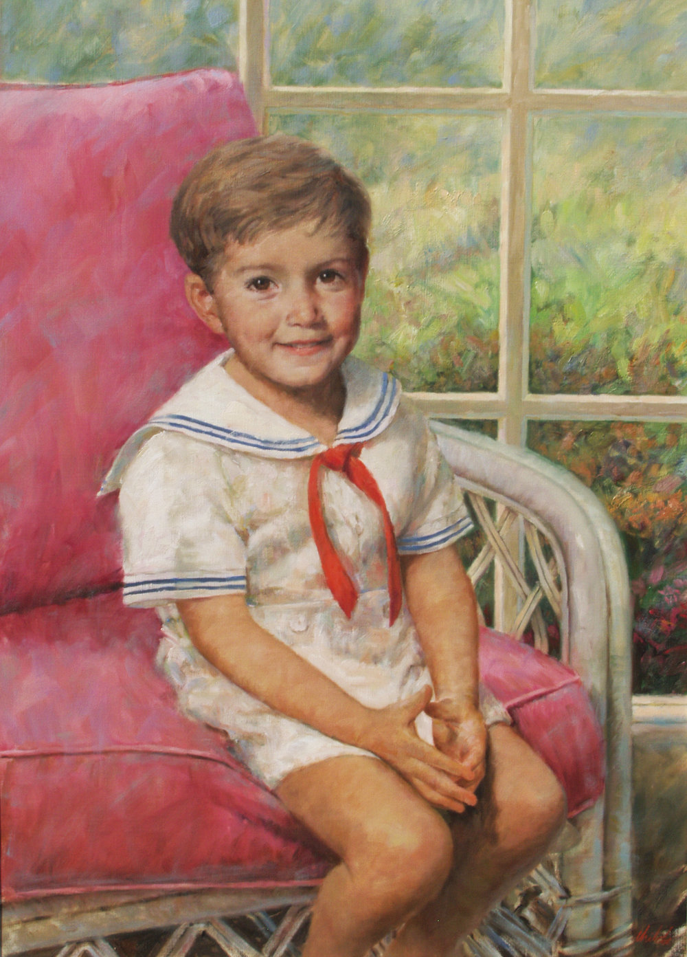 Boy with Sailor Outfit in Chair - 28x37