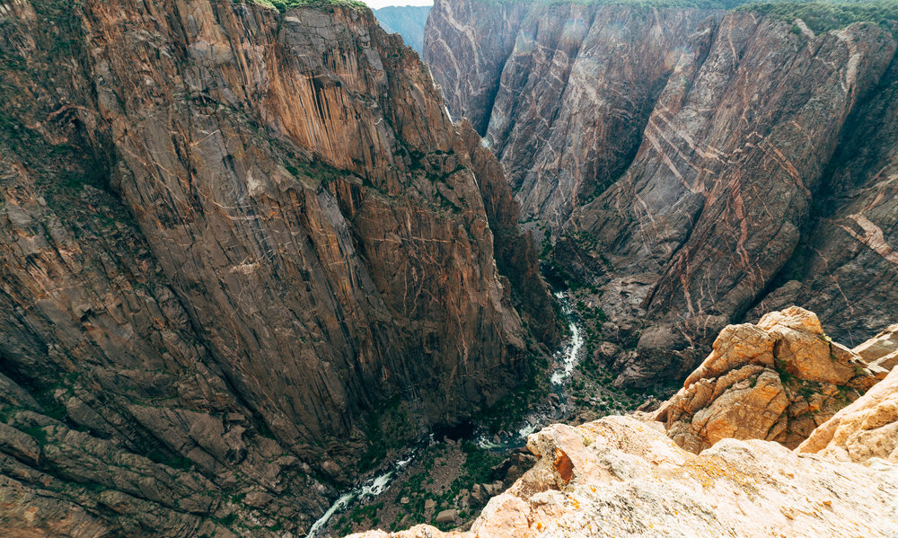 From the edge of the canyon. Not for those who are afraid of heights.