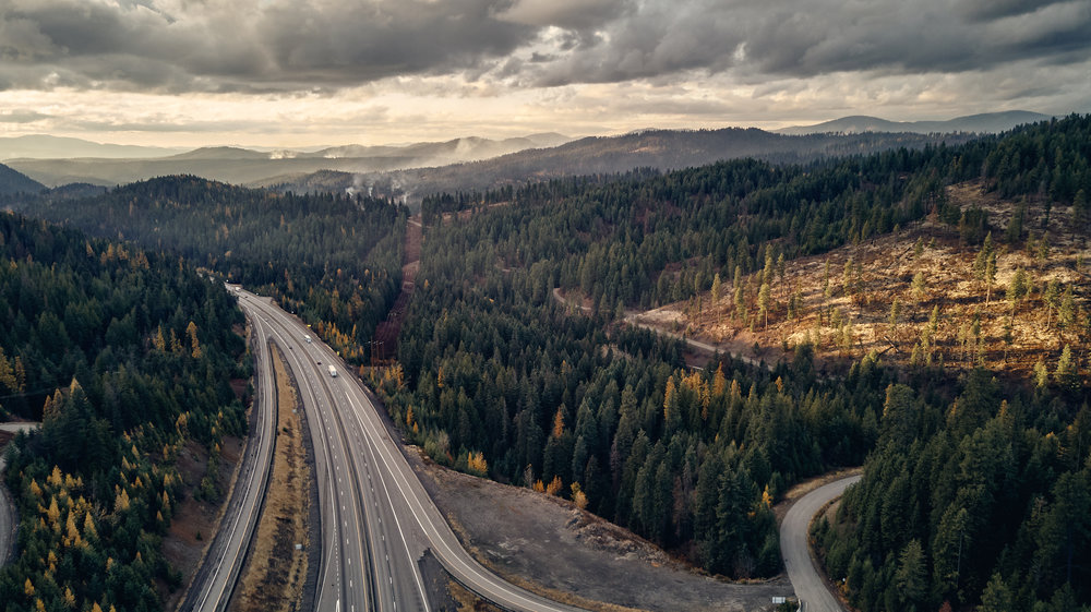 Heading to Kellogg on Tuesday afternoon. Shot on DJI Mavic Air.  Fourth of July Pass, Idaho.