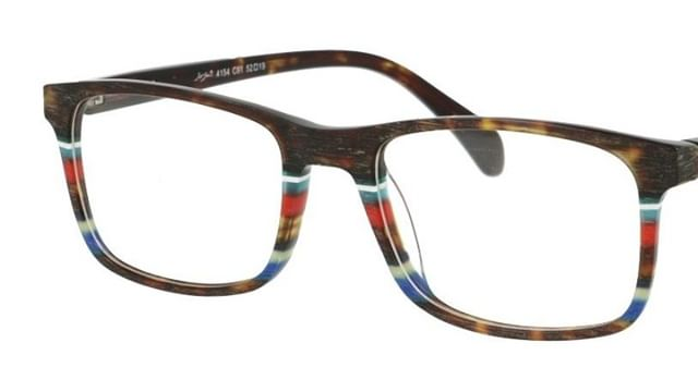 NO. 4154 Beautifully crafted acetate frames - contemporary stripes in a traditional rectangular style. Colour: Brushed demi faux horn with colour stripe Designer: Sir John Eyewear, Netherlands www.eyemasters.co.uk #Specs #Spectacles #Frames #Glasses #Eyeware #Fashion #Instafashion #Hastings #Bexhill #Rye  #Battle #tunbridgewells