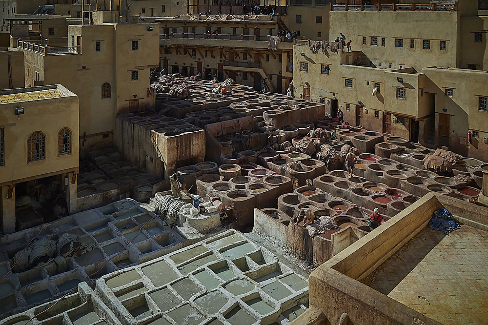 a top view of the main tanneries area, with the vats filled with colours and chemicals to treat and colour the leather