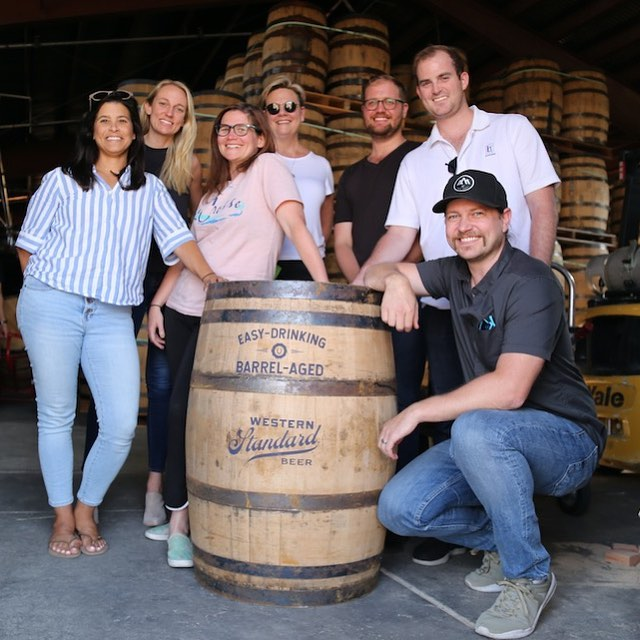 When an easy-drinking #lager is aged in High West #bourbon barrels, you've got to shoot in the #barrel room. Head to our site to see our new Western Standard work. #WesternStandard #HighWest #ForgeANewFrontier #ThisIsCavalry #BTS#ProductionLife #AgencyLife