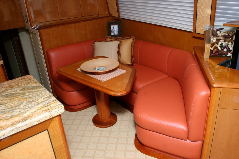 55' Viking custom interior and woodwork.