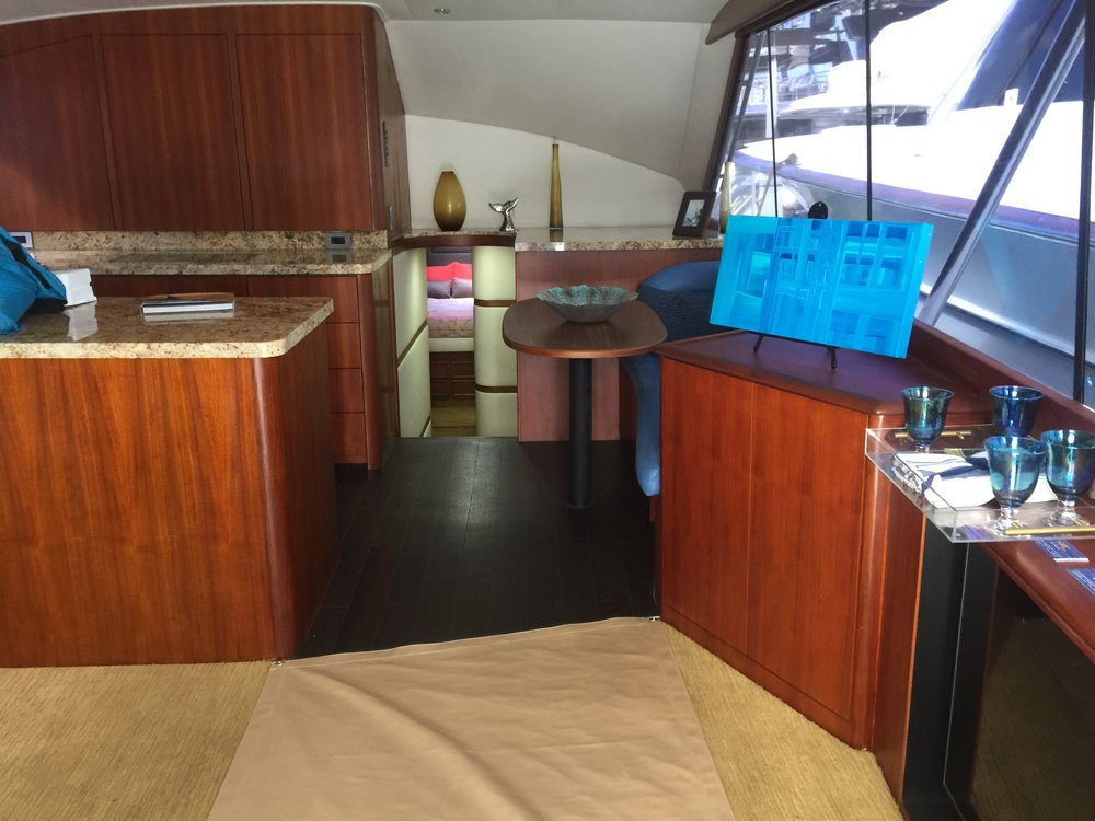 Custom interior in a 1991 53' Ocean.