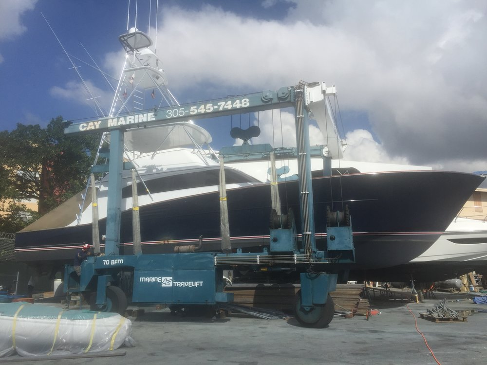 61' Garlington in for new hull paint.
