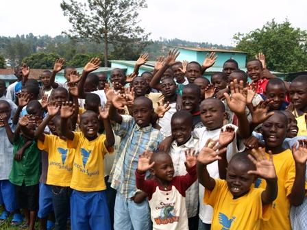 groups of boys waving
