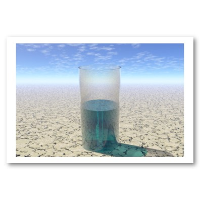 A glass of water in a desert