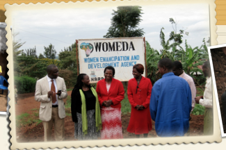 six people standing in front of organization name sign in Tanzania