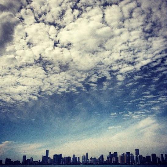 Miami skyline and sky