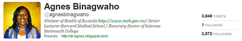 A picture of the Twitter profile of the Minister of Health in Rwanda
