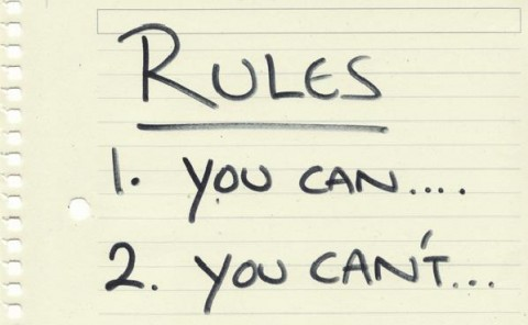 a lined notebook page with text handwritten on it that has two rules, you can...and you can't...