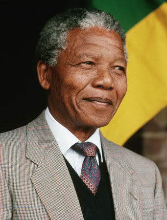 Color photo of Nelson Mandela smiling