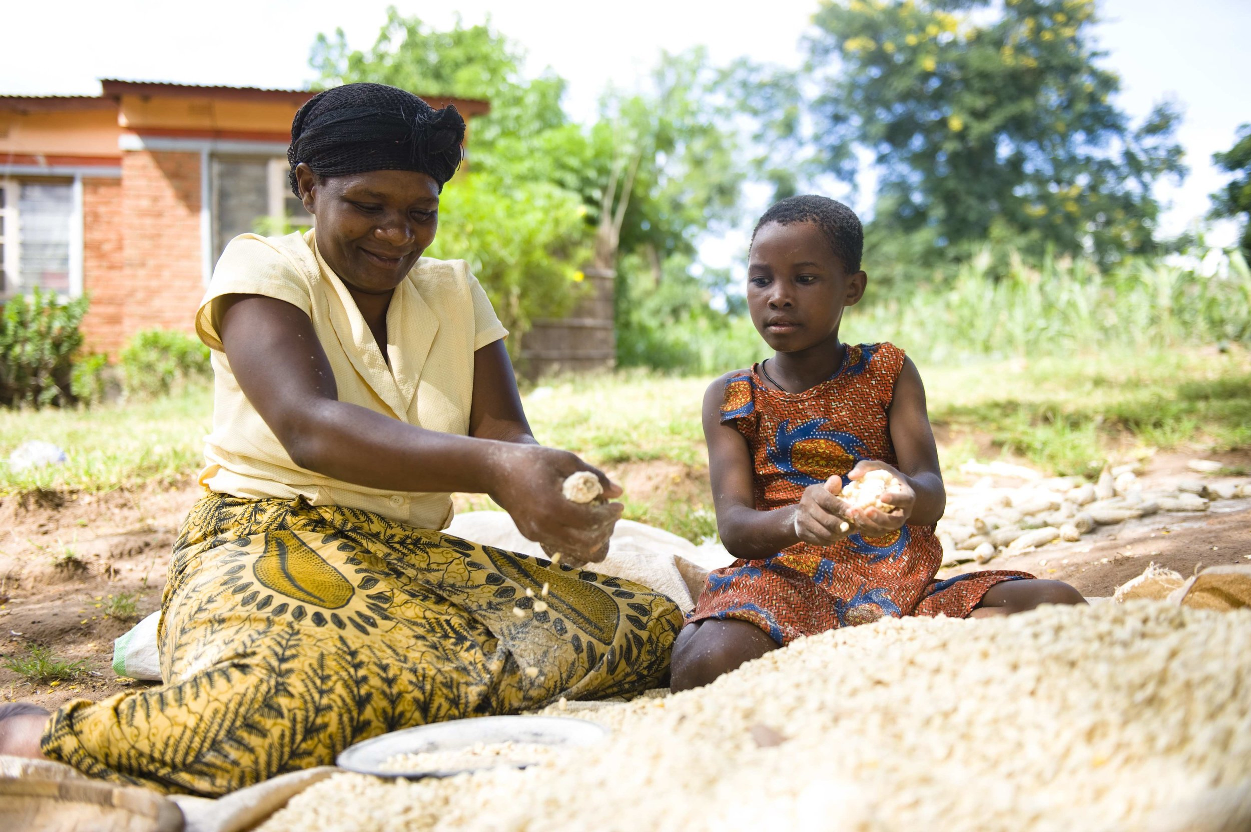 an older African woman and a small girl sit outside preparing maize