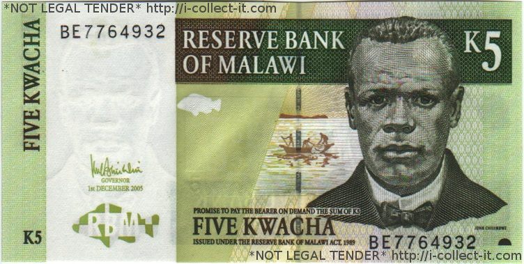 A green bill of 5 with a man featured on it