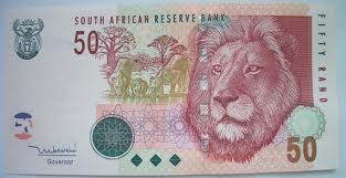 A currency bill for 50 rand with a lion on it