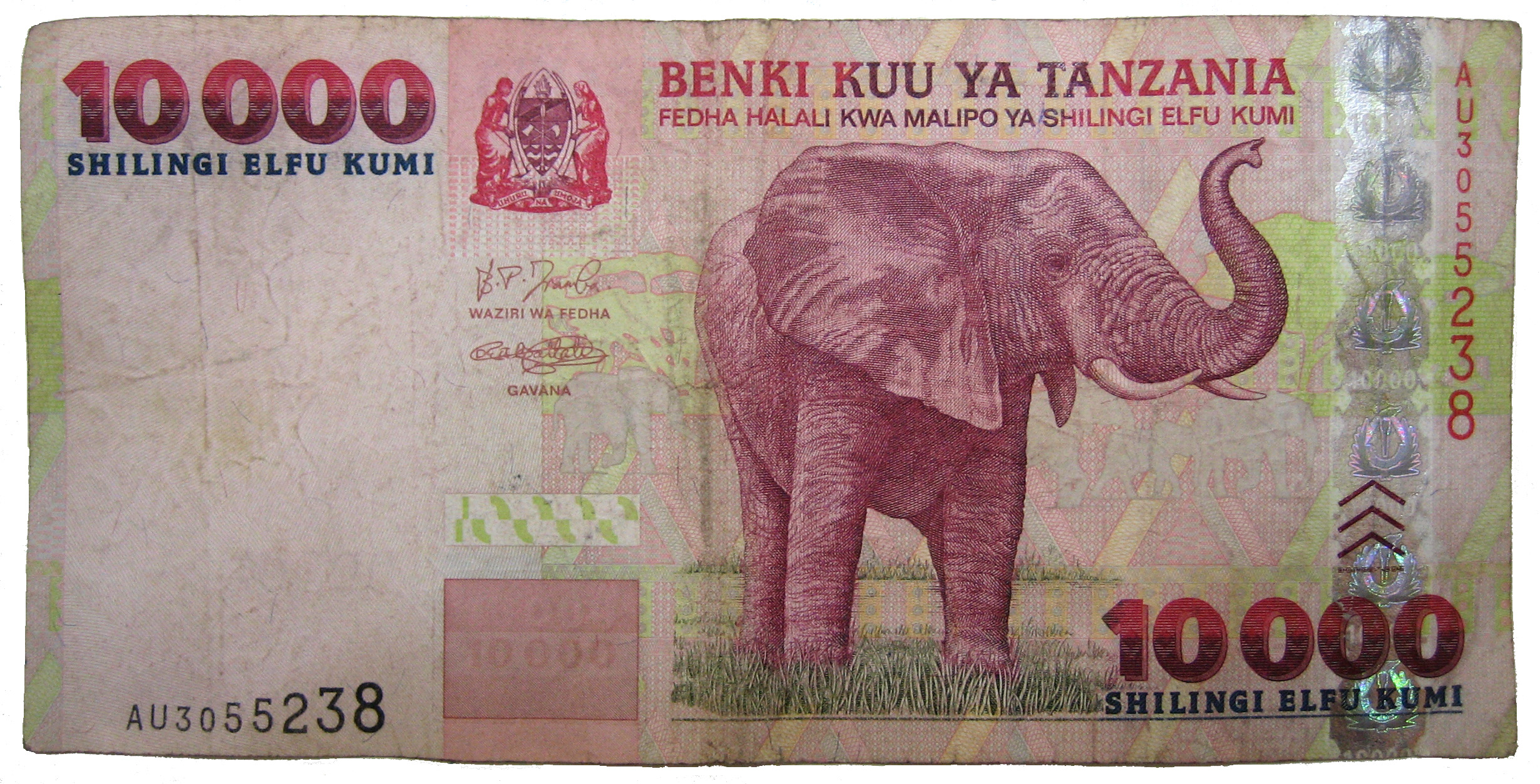 A currency bill with an elephant in Tanzania Shillings