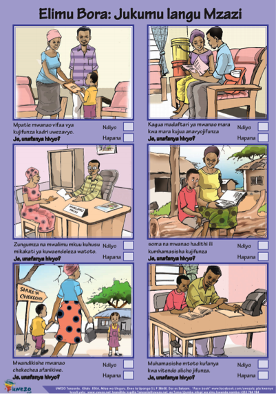 A purple framed comic strip style page of a series of photos of two parents talking with a child and teacher in and outside of school